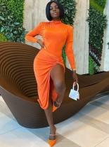 Sexy Solid Ruffle Asymmetrical Club Dress