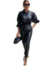 Kışlık Siyah Deri Resmi Bluz ve Pantolon Takım