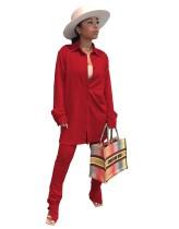 Herbst lässig solide lange Bluse und passende Hosen Set