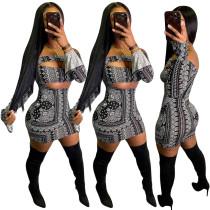 Sonbahar Baskı Siyah Straplez Mini Bodycon Elbise