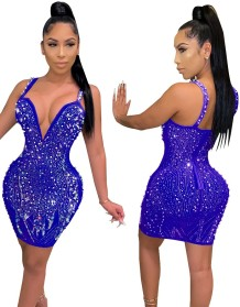Party Sexy Rhonestones Strap Bodycon Kleid
