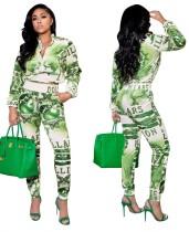 Herbst Casual Print Green Reißverschluss Jacke und Hosen Set