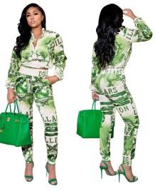 Conjunto de calça e jaqueta com zíper verde estampa casual outono