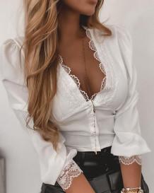 Top corto con scollo a V sexy in pizzo bianco autunnale