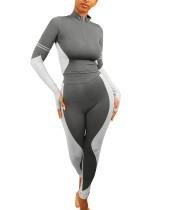 Herbst Sport Fitness Kontrast Shirt und Legging Set