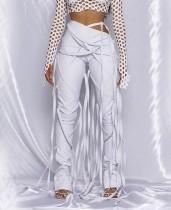 Pantalones de borla de cintura alta de cuero de fiesta de invierno