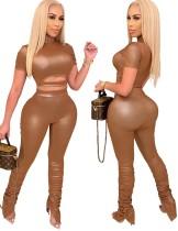 Осенняя вечеринка, сексуальный кожаный укороченный топ и комплект штанов