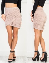 Summer Solid Plain High Waist Wrapped Ruched Mini Skirt
