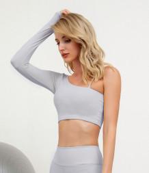 Herbst Solid Plain One Shoulder Yoga Crop Top