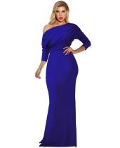 Summer Blue Long Sleeve Mermaid Evening Dress with Slash Shoulder