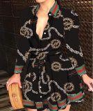 Herbst Casual Chains Print Skater Kleid mit Gürtel