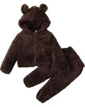 Set giacca e pantaloni con orso in pile invernale per bambino