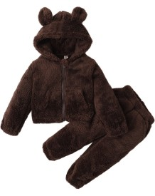 Kids Boy Winter Fleece Bär Jacke und Hosen Set
