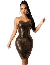 Party Sexy Metallic Neckholder Bodycon Kleid