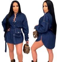 Otoño blusa de mezclilla con abertura lateral azul oscuro con cinturón