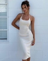 Sommerfest Solid Plain Sexy Halfter Midi Kleid