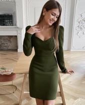Sonbahar Vintage Yeşil Mini Resmi Elbise