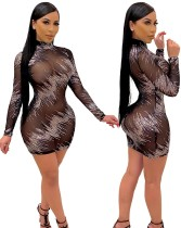 Herbst Party schwarz sexy Mesh Pailletten Mini Bodycon Kleid