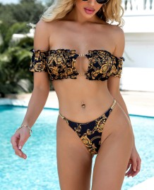 Sexy Two Piece Print Gold and Black Bandeau Swimwear