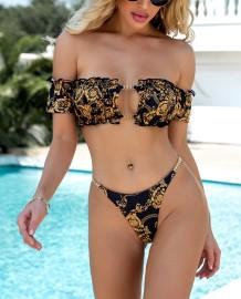 Costumi da bagno sexy a due pezzi con stampa oro e fascia nera