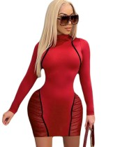 Herbst Party Sexy Mesh Patchwork Bodycon Kleid
