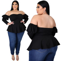 Plus Size Herbst Black Sweetheart Peplum Top
