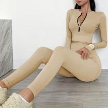 Herbst Sport Fitness Yoga Reißverschluss Crop Top und High Waist Legging Set