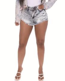 Summer Washed Zip Up Quasten Denim Shorts