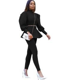 Winter Formales zweiteiliges Puff Sleeve Peplum Top und Hosen Set