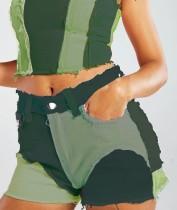 Summer Tie Dye Zip Up Pantalones cortos de mezclilla con borlas en contraste