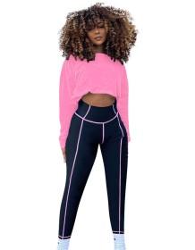 Conjunto de legging de cintura alta e top corte esportivo outono