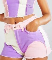 Summer Tie Dye Zip Up Kontrast Quast Denim Shorts