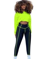 Conjunto de legging de cintura alta y top deportivo de otoño