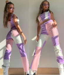Autumn Contrast Tassels Regular Straight Jeans