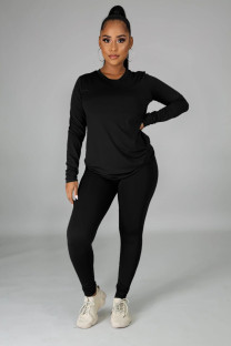 Autumn Casual Solid O-Neck Shirt and Pants Set