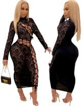 Autumn Party Lace Black Lace Up Midi Dress