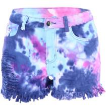 Shorts de mezclilla con borlas y cremallera de verano Tie Dye