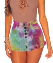 Summer Tie Dye Button Up Shorts de mezclilla con borlas de cintura alta