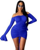Mini vestido fruncido sin tirantes sexy de fiesta de otoño con puños anchos