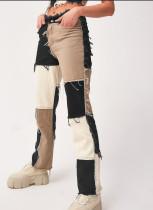 Regular Straight Jeans mit Kontrastquasten im Herbst