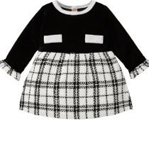 Baby Girl Winter Plaid Print Geburtstagsfeier Kleid
