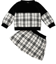 Baby Girl Winter Plaid Print Geburtstagsfeier Top und Rock Set