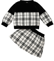Baby Girl Winter Plaid Print Birthday Party Top and Skirt Set