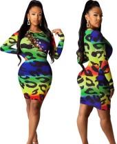 Herfstfeest Sexy Lace Up Leopard Bodycon-jurk