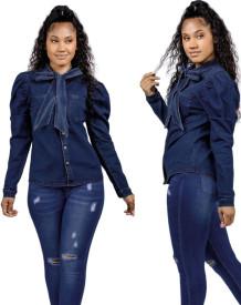 Autumn Dark Blue Puff Sleeve Tied Denim Blouse