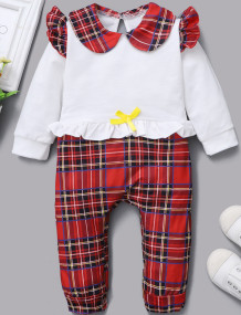 Baby Girl Autumn Plaid Print Button Pagliaccetti