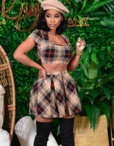 Summer Party Plaid Print Sexy Crop Top und Faltenrock Set