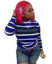 Camisa básica con cuello redondo y rayas de colores otoñales