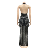 Occassional Sexy Backless Halter Black Evening Dress