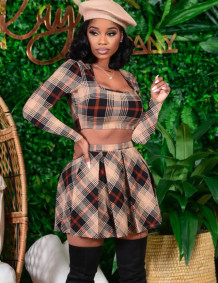 Autumn Party Plaid Print Sexy Crop Top and Pleated Skirt Set
